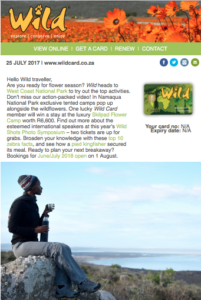 The Wild newsletter is mailed to 156 471 sign-up subscribers