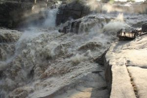 The magnificent Augrabies Falls when the Orange River runs at full spate.