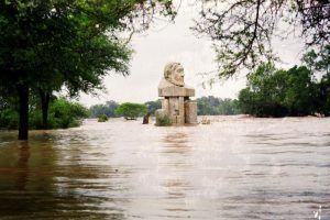 The flood waters engulfed the bust of Paul Kruger. Picture by Joep Stevens