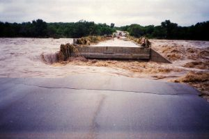 The 2000 flood destroyed the bridge at Kruger Gate. Picture by Joep Stevens