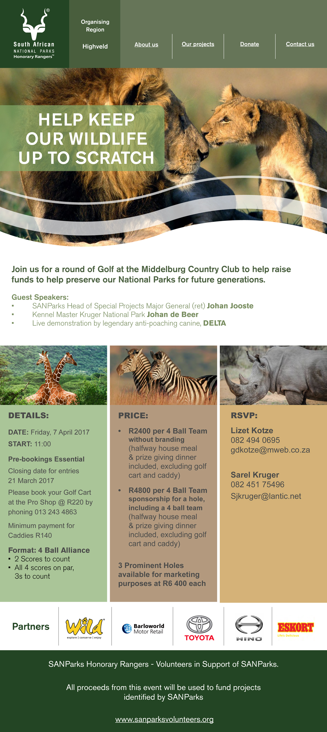 Highveld golf day-SANParks Honorary Rangers