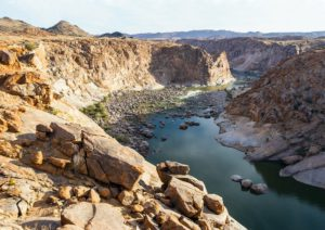 The Orange River Gorge with steep rocky cliffs; Augrabies National Park; South Africa