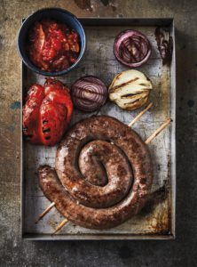 More Braai the Beloved Country-Jean Nel-Boerewaors coil with tomato smoor